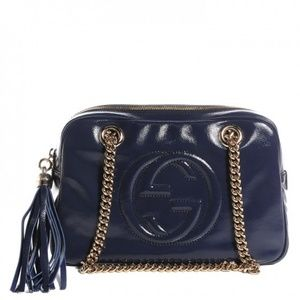 GUCCI Patent Small Soho Chain Shoulder Bag